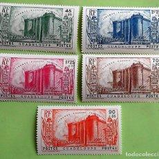 Sellos: GUADALUPE. 142/46 ANIVERSARIO REVOLUCIÓN FRANCESA: TOMA DE LA BASTILLA. 1939. SELLOS NUEVOS CON SEÑA. Lote 151960626