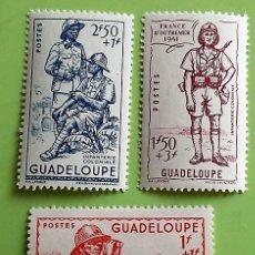 Sellos: GUADALUPE. 158/60 DEFENSA DEL IMPERIO: ARTILLERO COLONIAL, INFANTERÍA COLONIAL. 1941. SELLOS NUEVOS. Lote 151960730