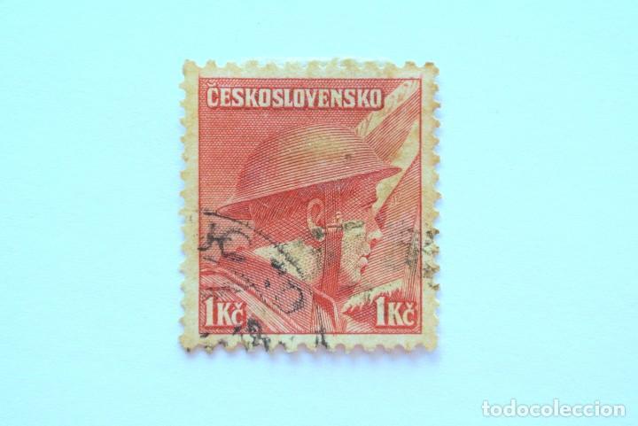 SELLO POSTAL CHECOSLOVAQUIA 1945, 1 K, CAPITAN PRAVOSLAV RÍDKÝ , CONMEMORATIVO, USADO (Sellos - Temáticas - Militar)