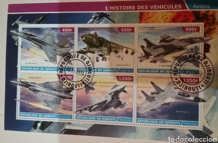 Sellos: HB R. Djibouti (Yibuti) mtdos/2015/Historia aviacion/cazas/aviones guerra/militar/arma/helicoptero/t - Foto 3 - 169057228