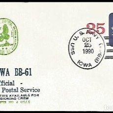 Sellos: ULTIMO DIA SERVICIO POSTAL ACORAZADO USS IOWA BB-61. Lote 171033943