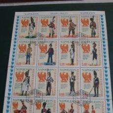 Sellos: 1974 NAPOLEON UNIFORMES GUINEA ECUATORIAL 16 SELLOS HOJA BLOQUE. Lote 172213618