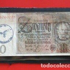Sellos: BILLETE ALEMAN RESELLO NAZI SEGUNDA GUERRA MUNDIAL. Lote 174572263