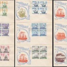 Sellos: EDIFIL 1599/612, HOMENAJE A LA MARINA ESPAÑOLA PRIMER DIA 16-7-1964 EN 14 SOBRE DE GOMIS BLOQUE DE 4. Lote 174583917