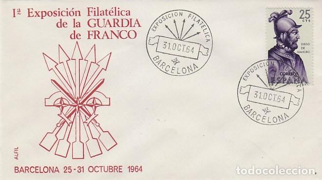 AÑO 1964, GUARDIA DE FRANCO, PRIMERA EXPOSICION, EN SOBRE DE ALFIL (Sellos - Temáticas - Militar)