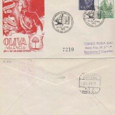 Sellos: AÑO 1960, OLIVA (VALENCIA), BICENTENARIO DEL ALMIRANTE CISCAR, SOBRE DE PANFILATELICAS CIRCULADO. Lote 178956157