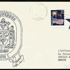 Sellos: USS AVENGER MCM-1 FIRMADO POR EL COMANDANTE . Lote 182068226