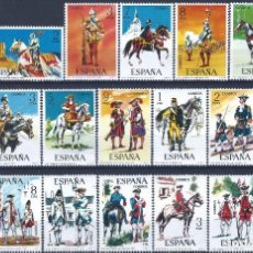 Sellos: UNIFORMES MILITARES (JUEGO COMPLETO 45 VALORES). MNH **. Lote 217339356