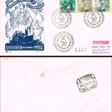 Sellos: AÑO 1952, PRIMER CONGRESO NACIONAL DE EX-COMBATIENTES EN SEGOVIA SOBRE DE PANFILATELICAS CIRCULADO. Lote 185908482