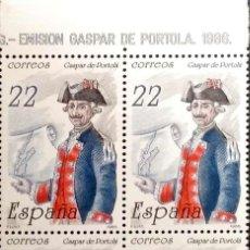 Sellos: ESPAÑA. 2866 GÁSPAR DE PORTOLÁ, BLOQUE DE CUATRO. 1986. SELLOS NUEVOS Y NUMERACIÓN EDIFIL. Lote 191362235