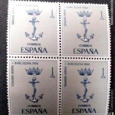 Sellos: ESPAÑA. 1737 SEMANA NAVAL EN BARCELONA, EN BLOQUE DE CUATRO. 1966. SELLOS NUEVOS Y NUMERACIÓN EDIFIL. Lote 191363745