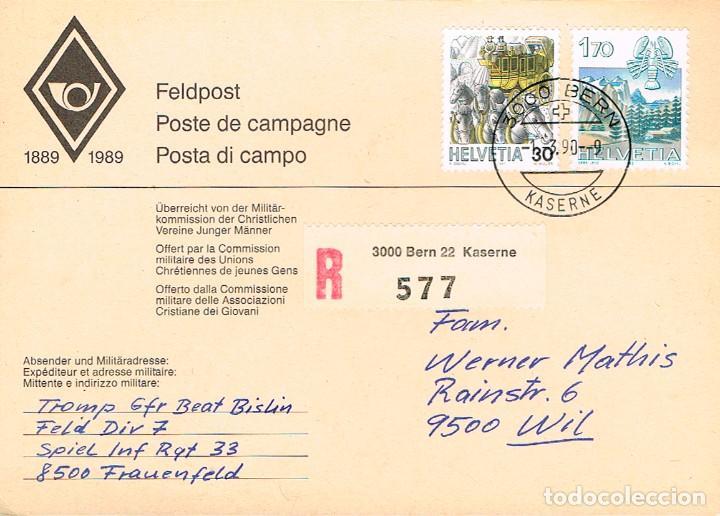 SUIZA, CORREO DE CAMPAÑA (MILITAR), MATASELLOS BERNA (KASERNE) DEL 1-3-1990 (Sellos - Temáticas - Militar)