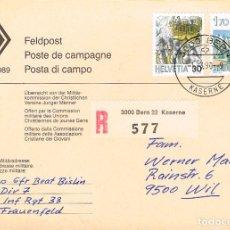 Sellos: SUIZA, CORREO DE CAMPAÑA (MILITAR), MATASELLOS BERNA (KASERNE) DEL 1-3-1990. Lote 192564481