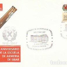 Sellos: EDIFIL 2907, 75 ANIVº DE LA ESCUELA DE ARMERIA DE EIBAR, PRIMER DIA ESPECIAL DE EIBAR 2-7-1987 SFC. Lote 195486488