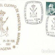 Sellos: AÑO 1987, 450 ANIVERSARIO DE LA CREACION INFANTERIA DE MARINA, MATASELLO DE CARTAGENA (MURCIA). Lote 195486743