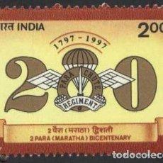 Sellos: SELLO INDIA 1997 BICENTENARIO DEL 2º MARATHA BATTALION REGIMIENTO PARACAIDISTA. Lote 203068063