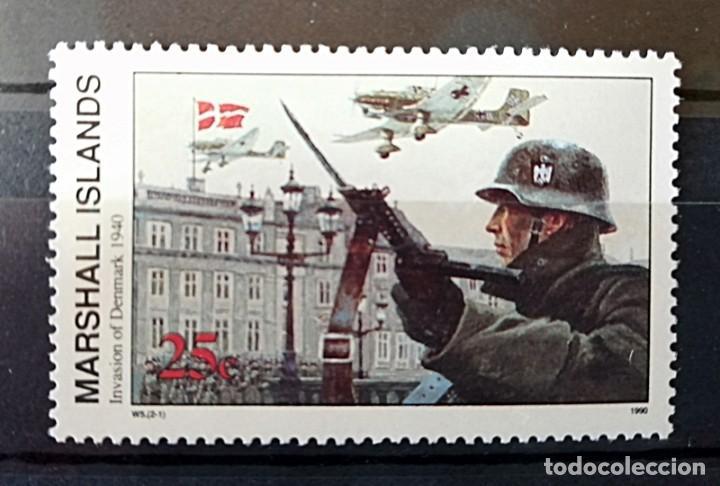 LOTE 6 SELLOS DE LAS ISLAS MARCHALL SOBRE ESCENARIOS DE LA II GUERRA MUNDIAL. 1990 (Sellos - Temáticas - Militar)