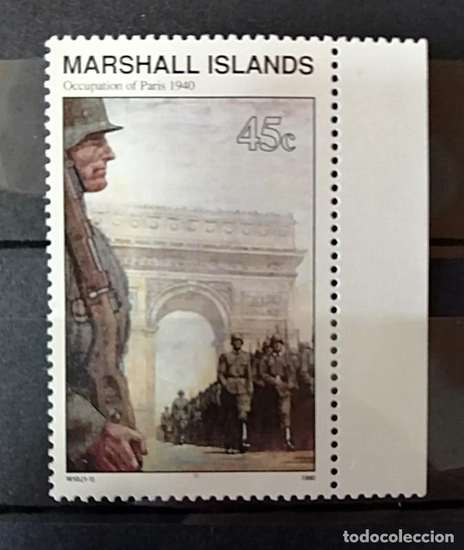 Sellos: LOTE 6 SELLOS DE LAS ISLAS MARCHALL SOBRE ESCENARIOS DE LA II GUERRA MUNDIAL. 1990 - Foto 4 - 203087188