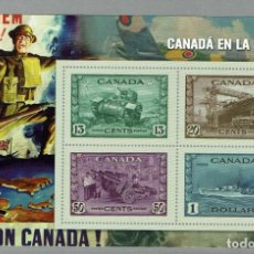 Sellos: HB CANADA MNH CANADA EN LA GUERRA WWII TANQUE ASTILLERO CAÑON BARCO. Lote 204742263