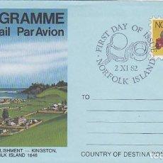 Sellos: NORFOLK ISLAND (AUSTRALIA) ARMAS: CULEBRINA, AEROGRAMA CON MATASELLOS DE 2-11-1982. Lote 206143142