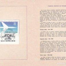 Sellos: ARGENTINA, 50 ANIVº DE LA FABRICA MILITAR DE AVIONES, PRIM DIA 3-12-1977 BOLETIN SERVICIO FILATELICO. Lote 206367022