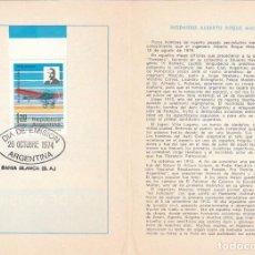 Sellos: ARGENTINA, DIA DE LA FUERZA AEREA, ALBERTO MASCIAS Y AVION BLERIOT, PRIMER DIA DE 26-10-1974. Lote 206367457