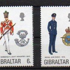 Sellos: GIBRALTAR - UNIFORMES MILITARES - 308/11*** - AÑO 1974. Lote 211468354
