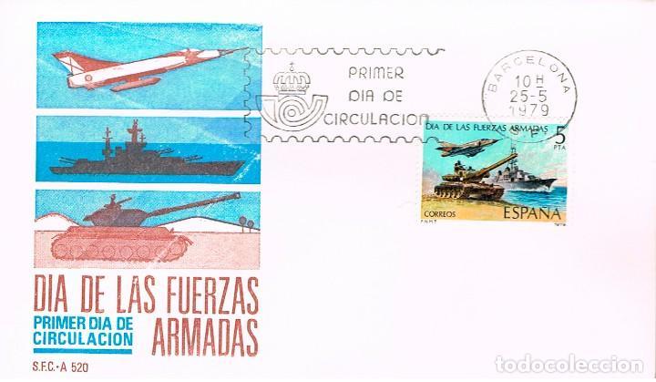 EDIFIL 2525, DIA DE LAS FUERZAS ARMADAS, PRIMER DIA DE 25-5-1979 SFC (Sellos - Temáticas - Militar)