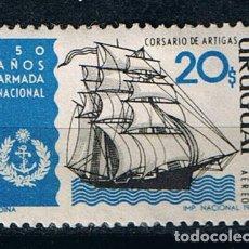 Sellos: SELLO CENTENARIO ARMADA NACIONAL URUGUAYA 1968 -SELLO USADO VELEROS BARCOS. Lote 213554371