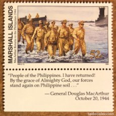 Sellos: GENERAL MACARYHUR REGRESA A FILIPINAS (2ª GUERRA MUNDIAL) 1 SELLO ISLAS MARSHALL DE 1995. MILITAR. Lote 217177543
