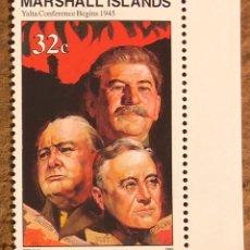 Sellos: CONFERENCIA DE YALTA (2ª GUERRA MUNDIAL) 1 SELLO ISLAS MARSHALL DE 1995. MILITAR.. Lote 217177742