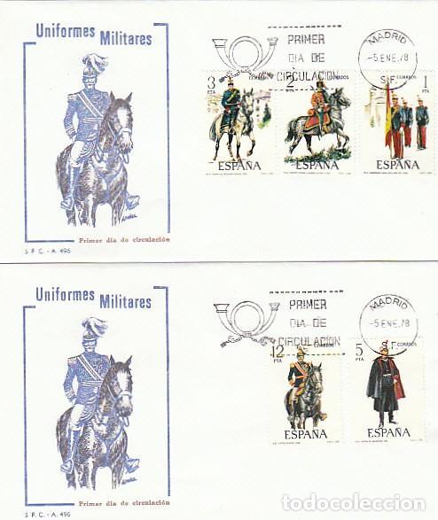 EDIFIL 2451/5, UNIFORMES MILITARES GRUPO IX (SIGLO XX) PRIMER DIA DE 5-1-1978 EN DOS SOBRES DEL SFC (Sellos - Temáticas - Militar)