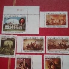 Sellos: SELLOS NICARAGUA NUEVOS/1982/250ANIV/NACIMIENTO/GEORGE/WASHINGTON/CABALLO/PINTURAS/BATALLAS/MILITAR. Lote 220943262
