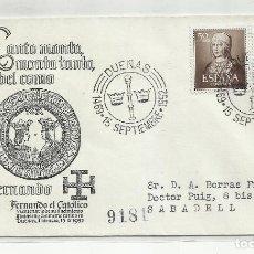 Sellos: CIRCULADA CENTENARIO FERNANDO DE ARAGON 1952 DE DUEÑAS PALENCIA A SABADELL BARCELONA. Lote 221266002