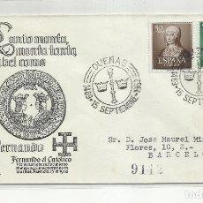 Sellos: CIRCULADA CENTENARIO FERNANDO DE ARAGON 1952 DE DUEÑAS PALENCIA A BARCELONA. Lote 221266036