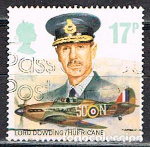 GRAN BRETANA IVERT Nº 1240. 50 ANIVERSARIO DE LA ROYAL AIR FORCE: LORD DOWDING, USADO (Sellos - Temáticas - Militar)