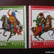 Sellos: +HUNGRIA, 1978, HUSARES HUNGAROS, 2 SELLOS USADOS. Lote 221909033