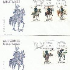 Sellos: EDIFIL 2423/7, UNIFORMES MILITARES GRUPO VIII (SIGLO XIX), PRIMER DIA 16-7-1977 2 SOBRES DEL SFC. Lote 222673065