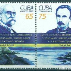 Sellos: 5938 CUBA 2015 MNH JOSE MARTI & MAXIMO GOMEZ. Lote 226310976