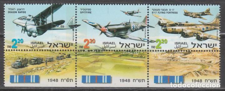 ISRAEL Nº 1470/2, AVIONES DE LA GUERRA DE LA INDEPENDENCIA, NUEVO *** CON TAB EN TIRA (Sellos - Temáticas - Militar)