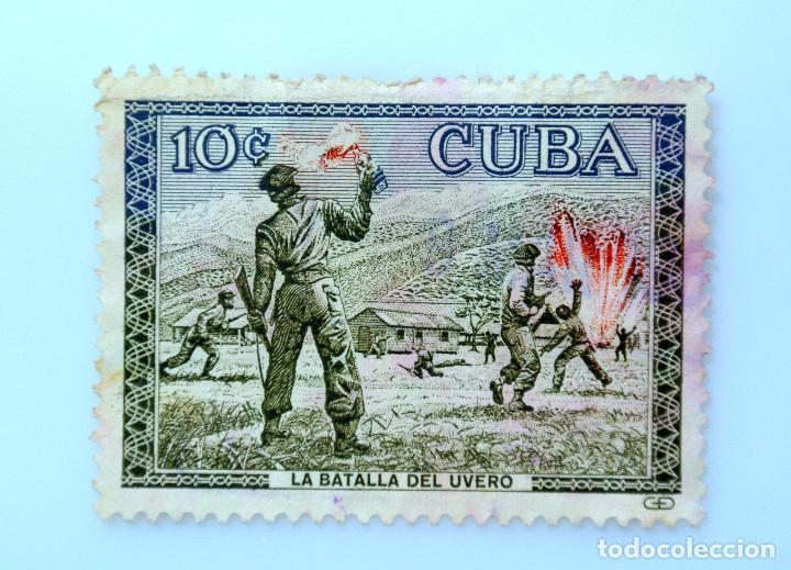 SELLO POSTAL CUBA 1960, 10 ¢, LA BATALLA DEL UVERO, USADO (Sellos - Temáticas - Militar)