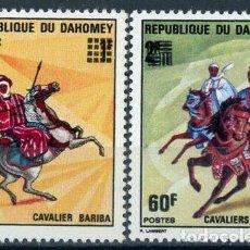 Sellos: BENIN - DAHOMEY 1976 IVERT 368/9 *** CABALLEROS BARIBA. Lote 232948633