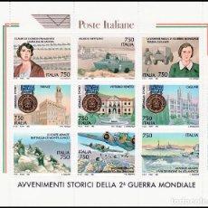 Sellos: TEMA MILITARES. ITALIA 1995 2099/107 DIVERSAS ESCENAS Y CELEBRIDADES DE GUERRA. Lote 235799265