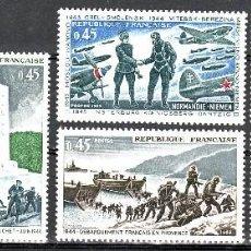 Sellos: TEMA MILITARES. FRANCIA 1969 1603/08 COMBATE, PARACAIDISMO,DESEMBARCO,LIBERACION. Lote 235799645