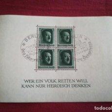 Sellos: HOJA DE BLOQUE ALEMANIA 1937 NAZI HITLER ESVASTICA REICH CON GOMA. Lote 238082205