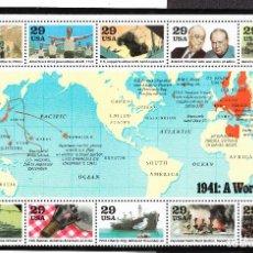 Sellos: 1991 USA UN MUNDO EN GUERRA 1941 HOJA BLOQUE NUEVA **. Lote 240624660