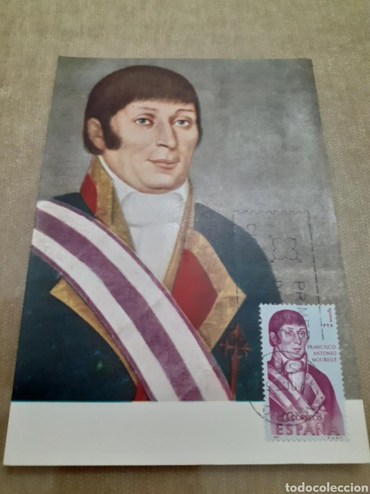 POSTAL ANTIGUA CON SELLO MATASELLADO MISMA IMAGEN FRANCISCO ANTONIO MOURELLE (Sellos - Temáticas - Militar)