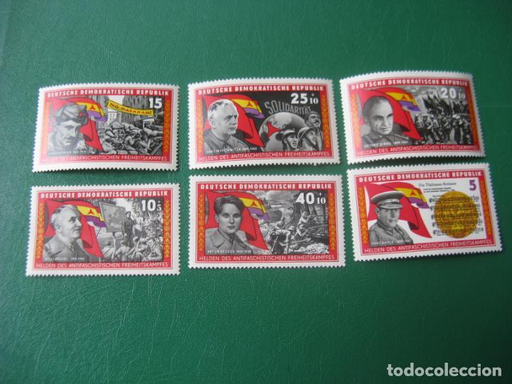 ALEMANIA ORIENTAL, 1966, HEROES ANTIFASCISTAS DE LA GUERRA DE ESPAÑA, YVERT 889/94 (Sellos - Temáticas - Militar)