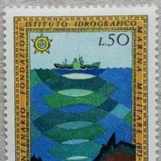 Sellos: 1973. ITALIA. 1132. CENTENARIO INSTITUTO HIDROGRÁFICO MARINA MILITAR. SONAR. SERIE COMPLETA. NUEVO.. Lote 245004360