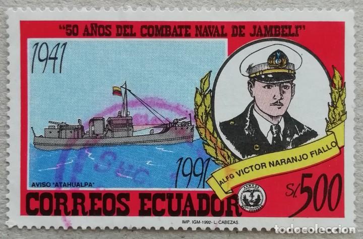 1992. ECUADOR. 1249. 50 ANIV BATALLA NAVAL DE JAMBELI. BARCO 'ATAHUALPA'. COMANDANTE VÍCTOR NARANJO (Sellos - Temáticas - Militar)